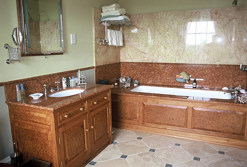 Bathroom cabinets in burr oak