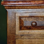 Bathroom cabinets in burr oak detail