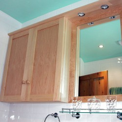 Maple bathroom cabinet and mirror