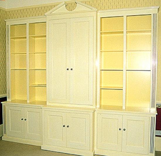 Painted break front bookcase
