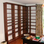 Dark oak bookcases