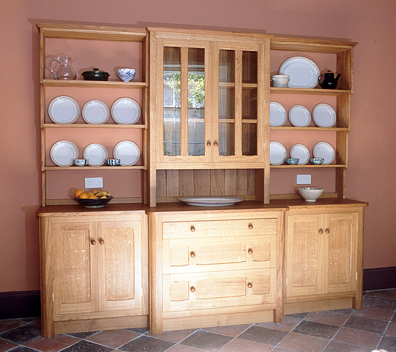 A traditional dresser made of solid English Oak and finished with linseed oil