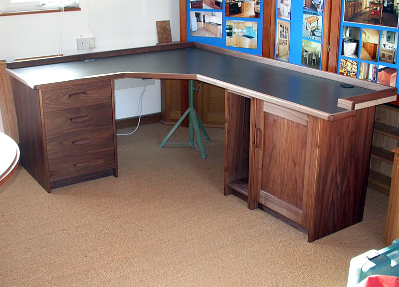 Walnut corner desk