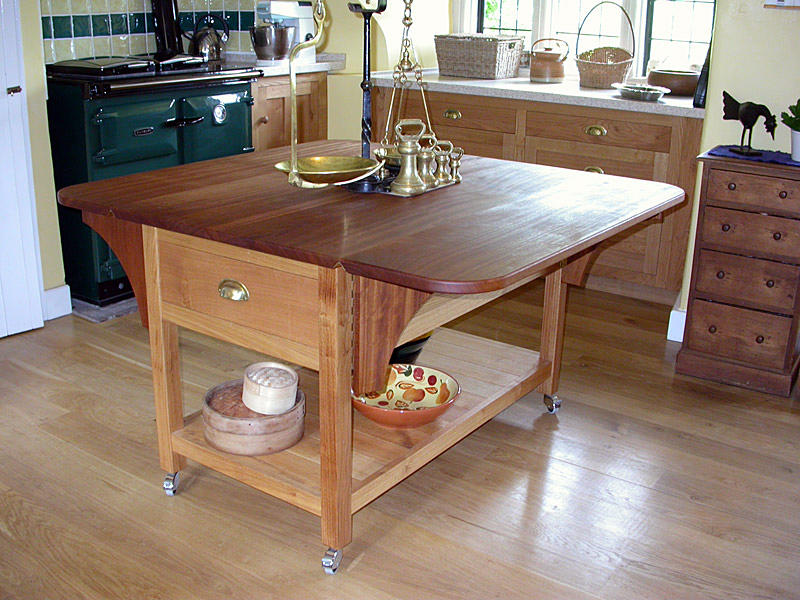 Drop-leaf kitchen work table