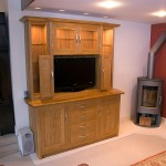 Solid Oak dresser designed to house a large flat-screen TV