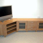 Oak sideboard in a modern style, designed to incorporate a TV