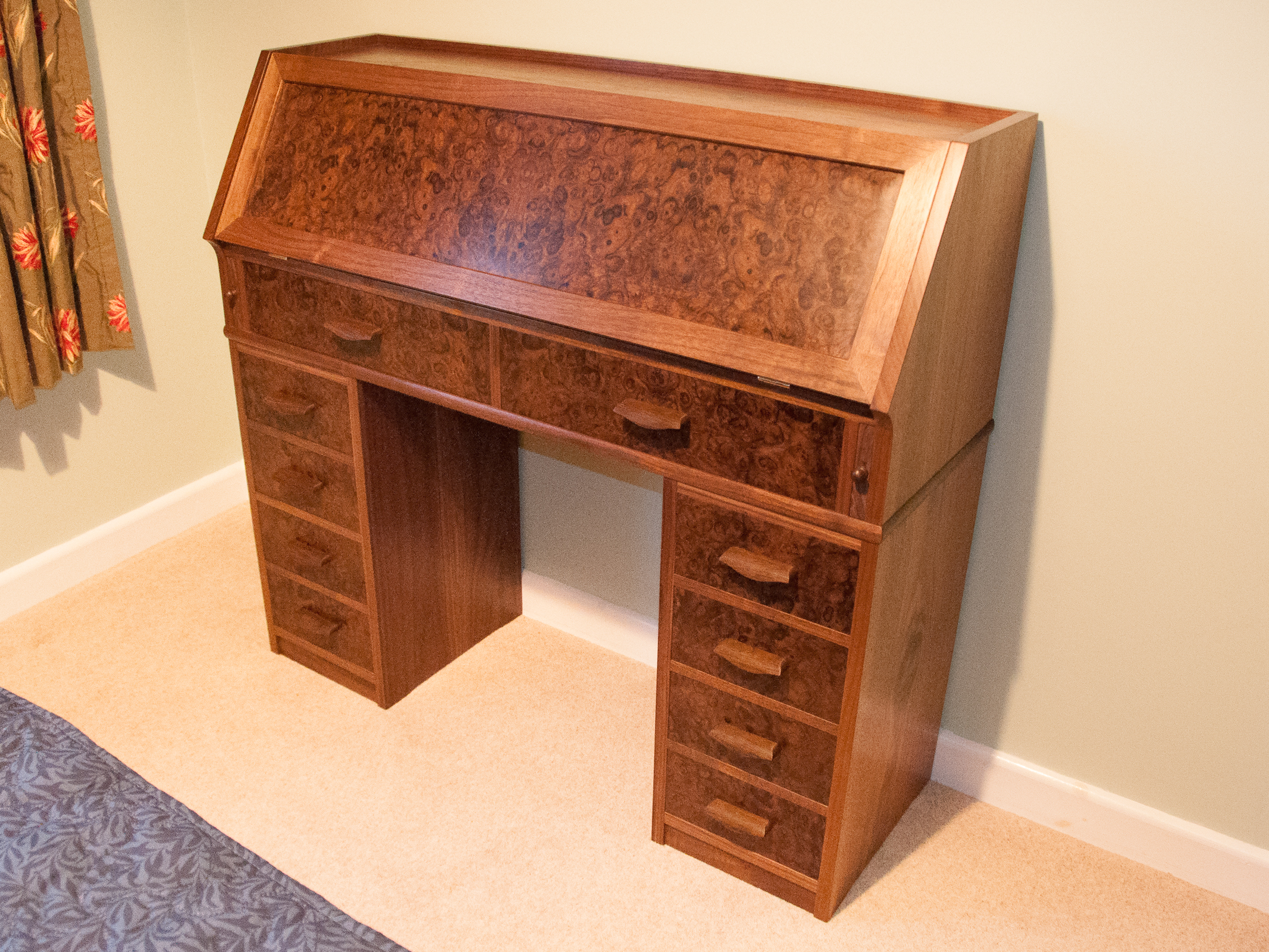 Secretaire desk in American Black Walnut