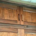 Built-in walnut wardobes detail