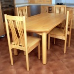 Table and chairs in Canadian Maple designed to go with the kitchen, which we also made