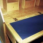 Oak bureau writing surface detail