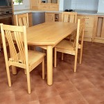 Table and chairs in Canadian Maple designed to go with the kitchen which we also made. The table is 1850mm long x 950mm wide and is finished with linseed oil