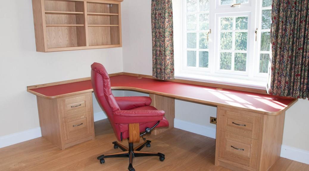 built-in oak desk