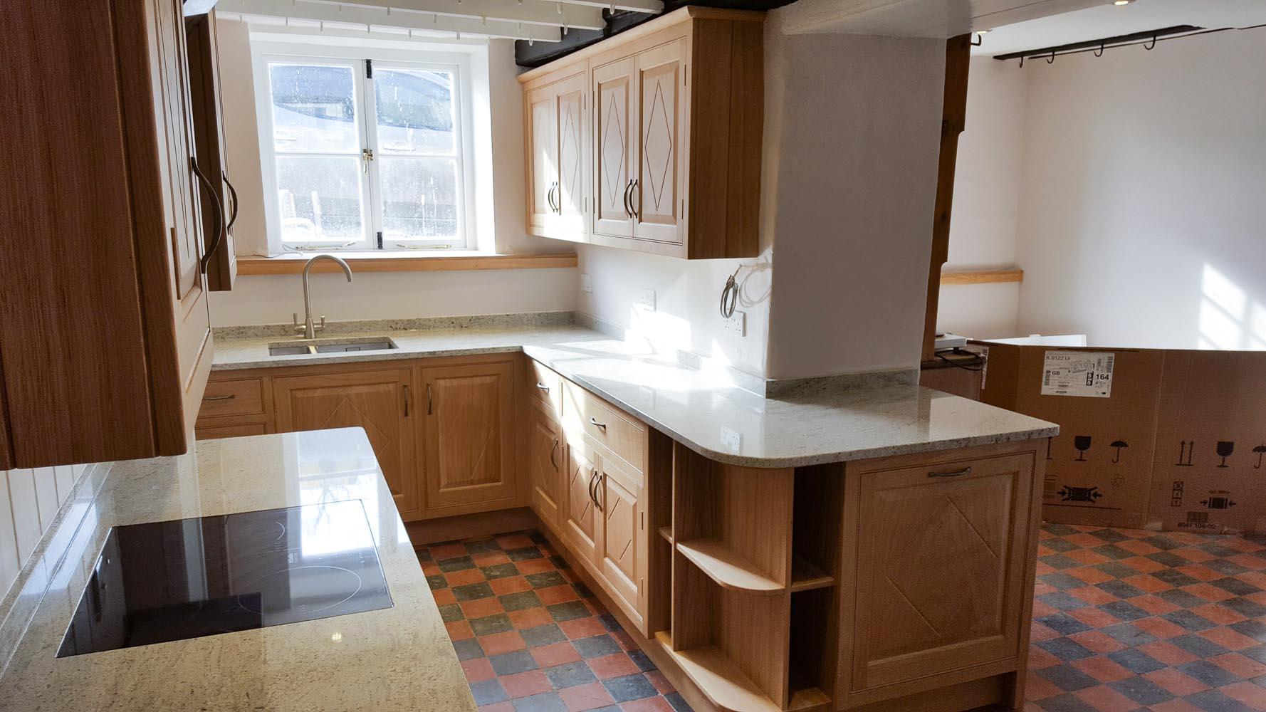 Oak Kitchen with Diamond Motifs